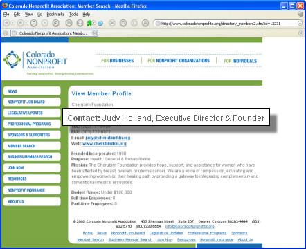 Colorado Nonprofit Association Listing for Cherubim Foundation